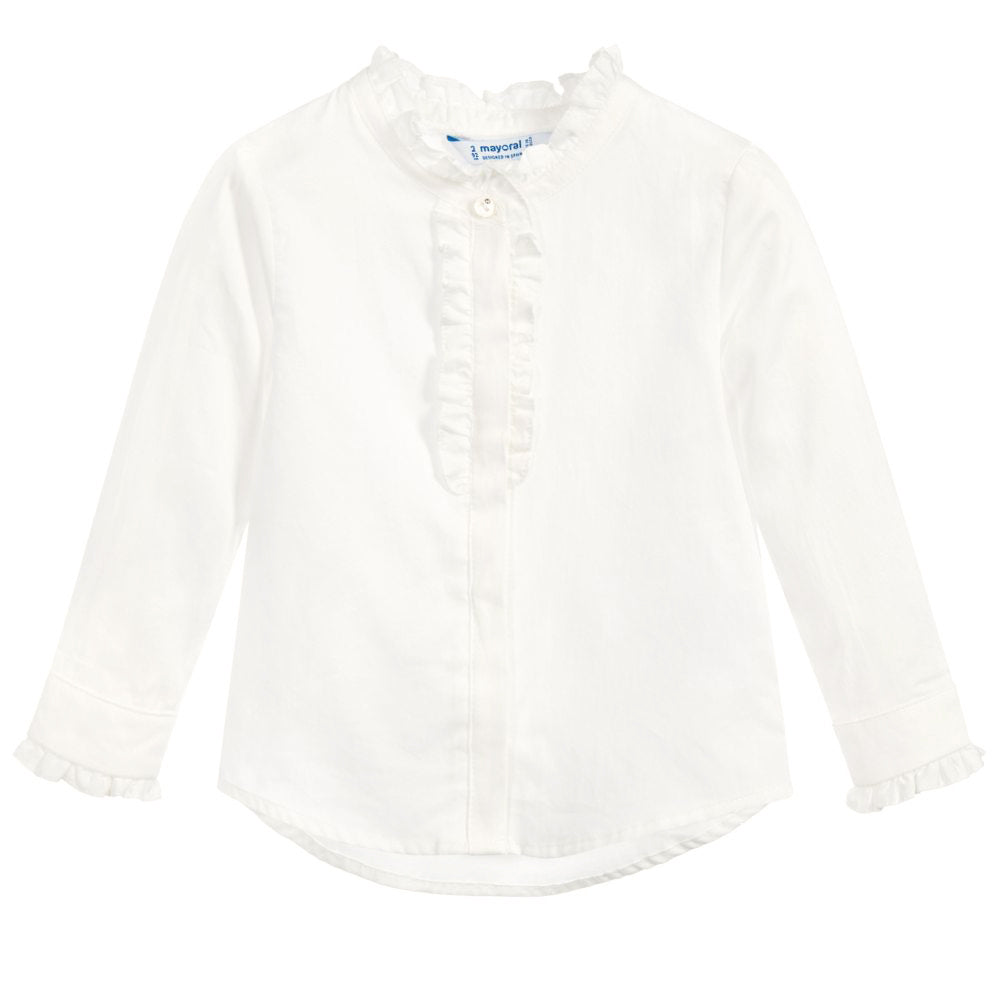 Ivory Cotton Ruffle Blouse
