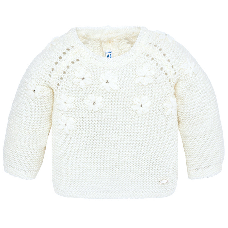 Infant Ivory Floral Sweater