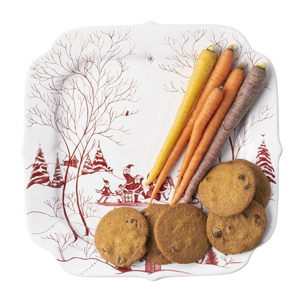 Country Estate Winter Frolic Ruby Santa's Cookie Tray Naughty and Nice List