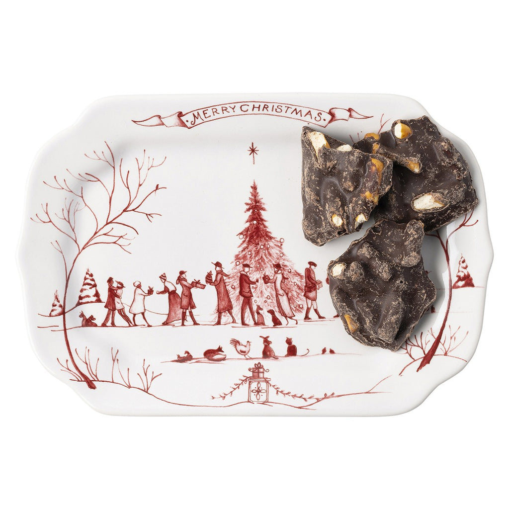 Country Estate Winter Frolic Ruby Gift Tray Merry Christmas