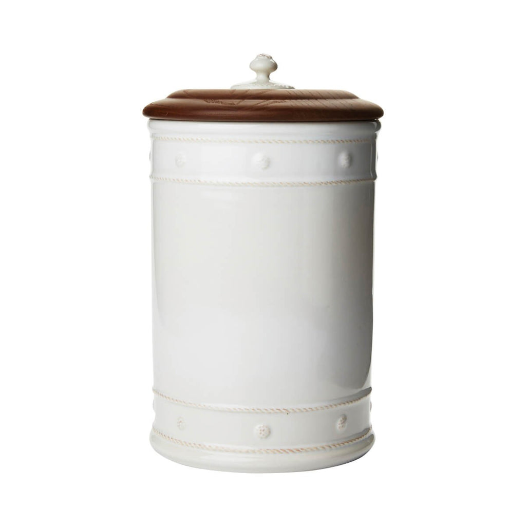 "Berry & Thread Whitewash 13"" Canister with Wooden Lid"