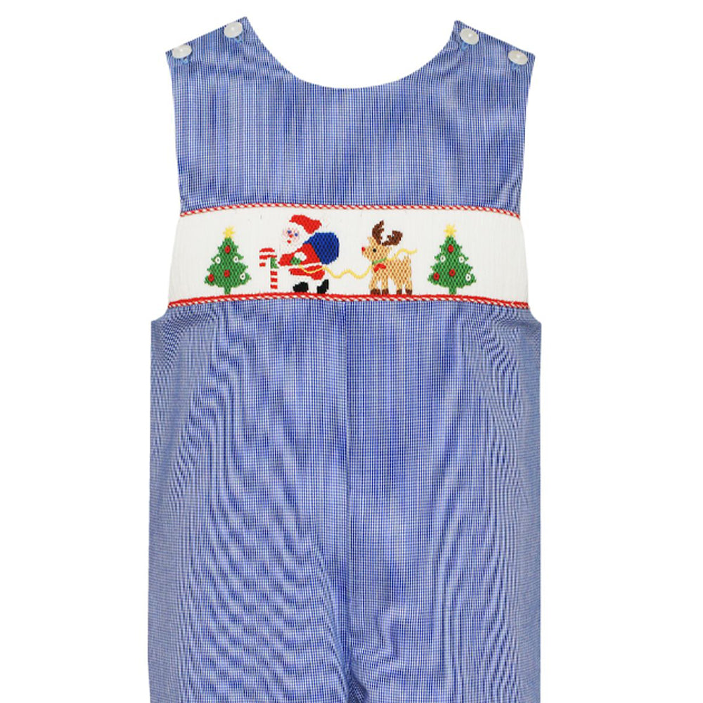 Royal Blue Santa with Reindeer & Trees John John