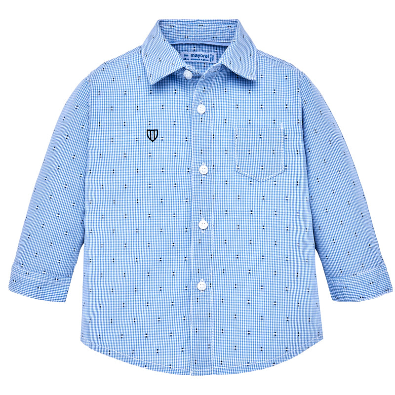 Blue Check Long Sleeve Button Down Shirt