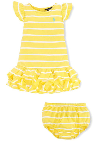 Lemon Striped Ruffled Cotton Dress