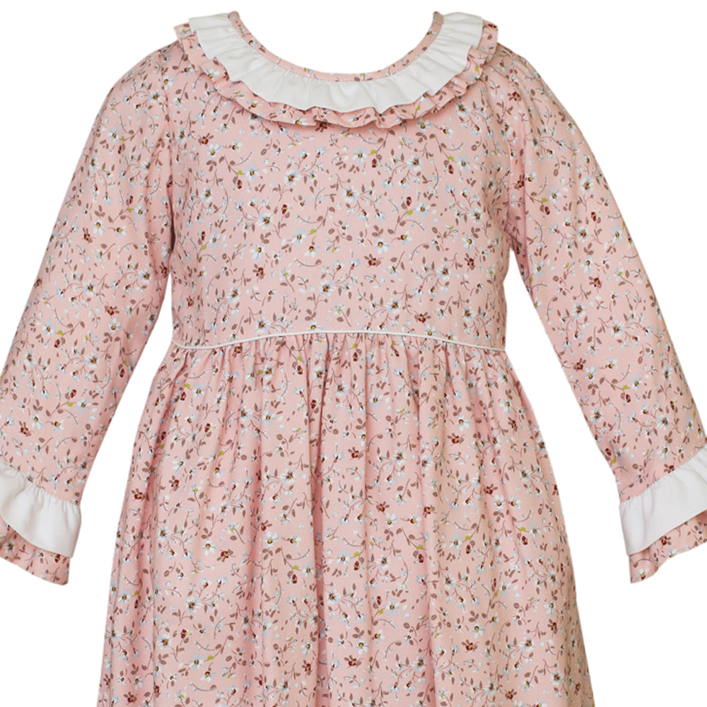 Layered Long Sleeve Pink Liberty Floral Dress w/ Ruffle Collar