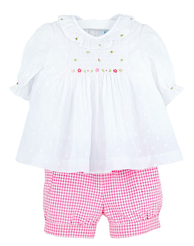 Pink Check Seersucker Banded Shorts w/ Smocked Dotted Swiss Top
