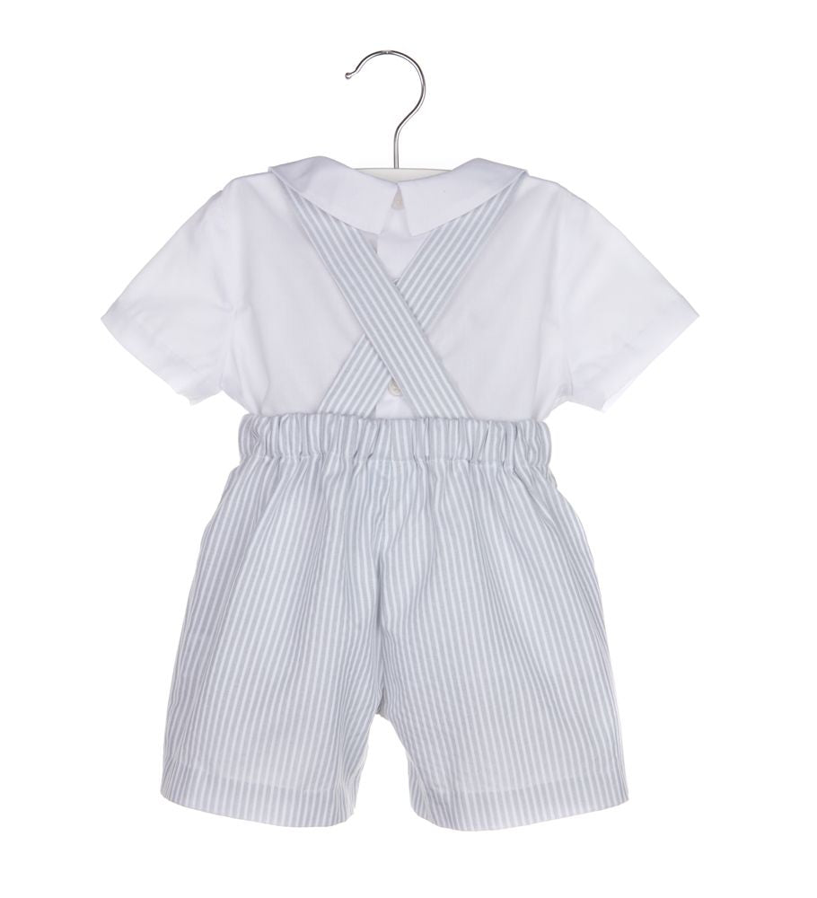 Grey Striped Smocked Bunny Overall with White Shirt