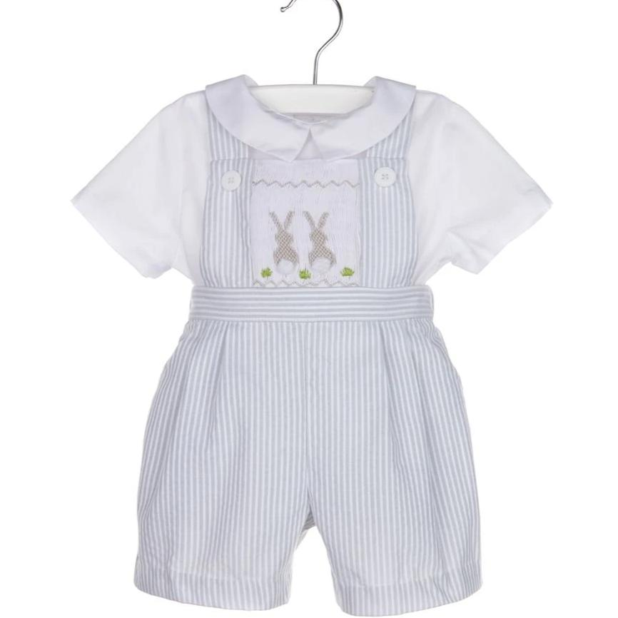 Grey Striped Seersucker Smocked Bunny Overall Set