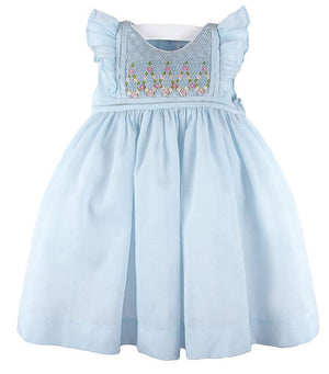 Organdi Smocked Dress with Randall Stitches in Blue