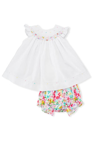Luli and Me Embroidered Bishop Dress w/ Floral Bloomers - kkgivingtree