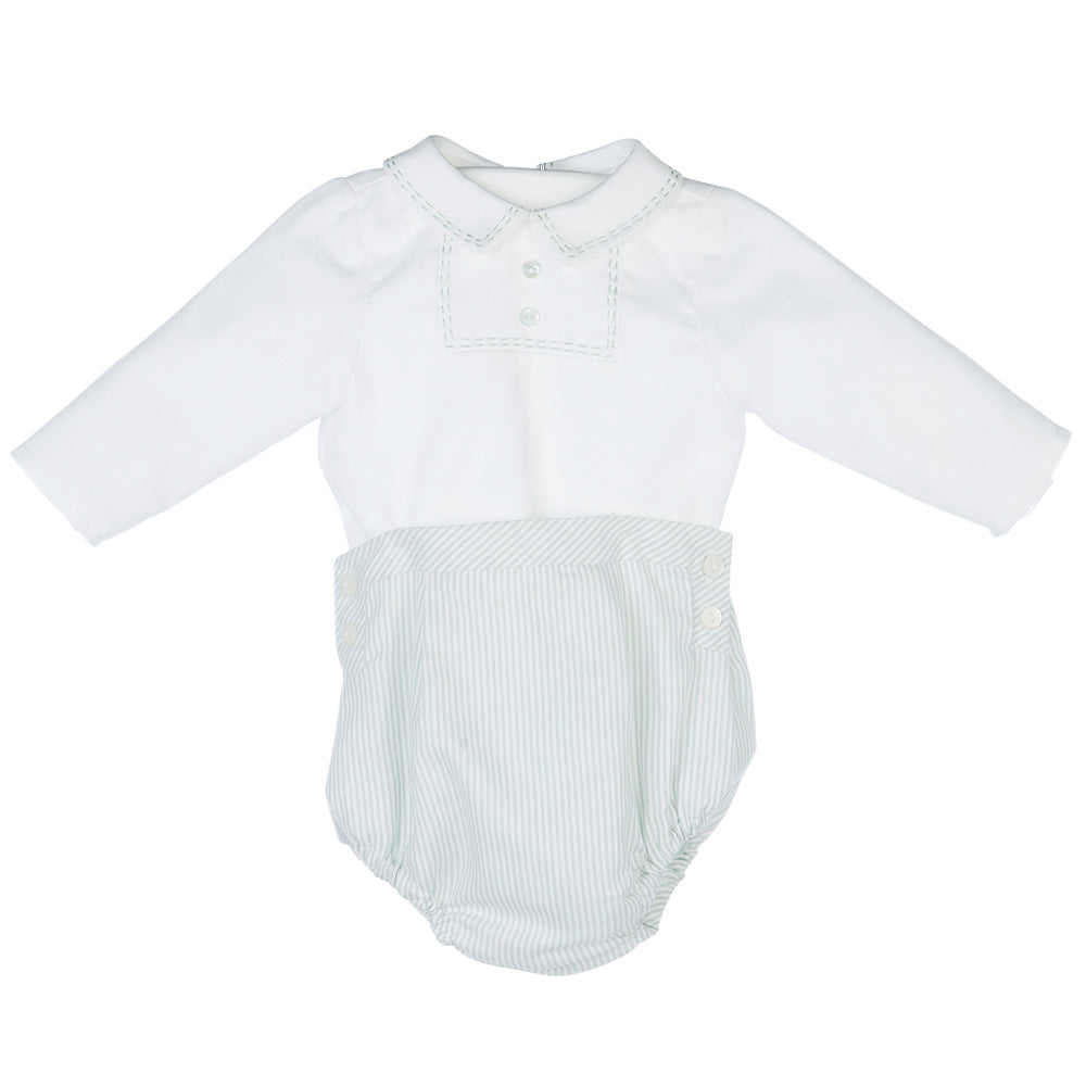 Baby Boys Embroidered Bubble Set - Green Striped
