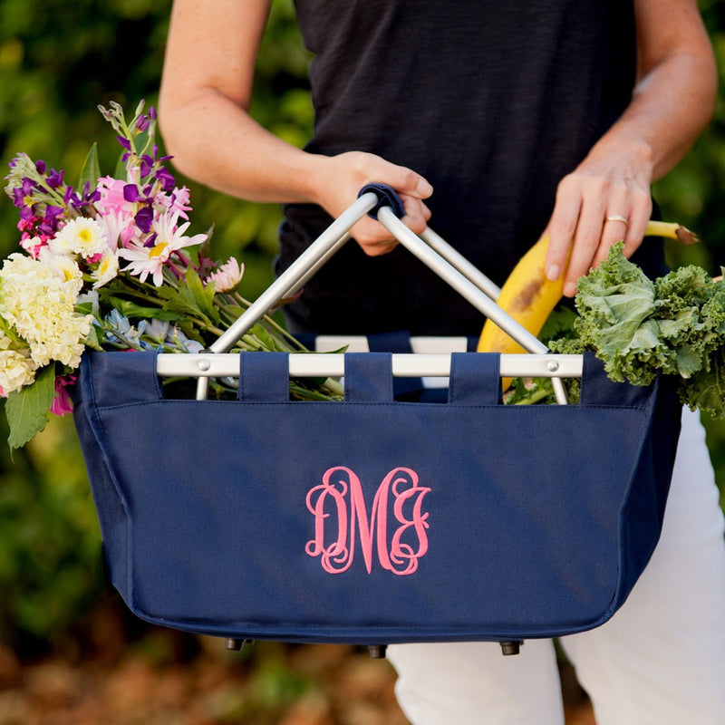 Navy Market Tote - Versatile & Convenient - stores flat for easy storage!