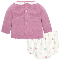 Mauve Sweater & Heart Bloomer Set