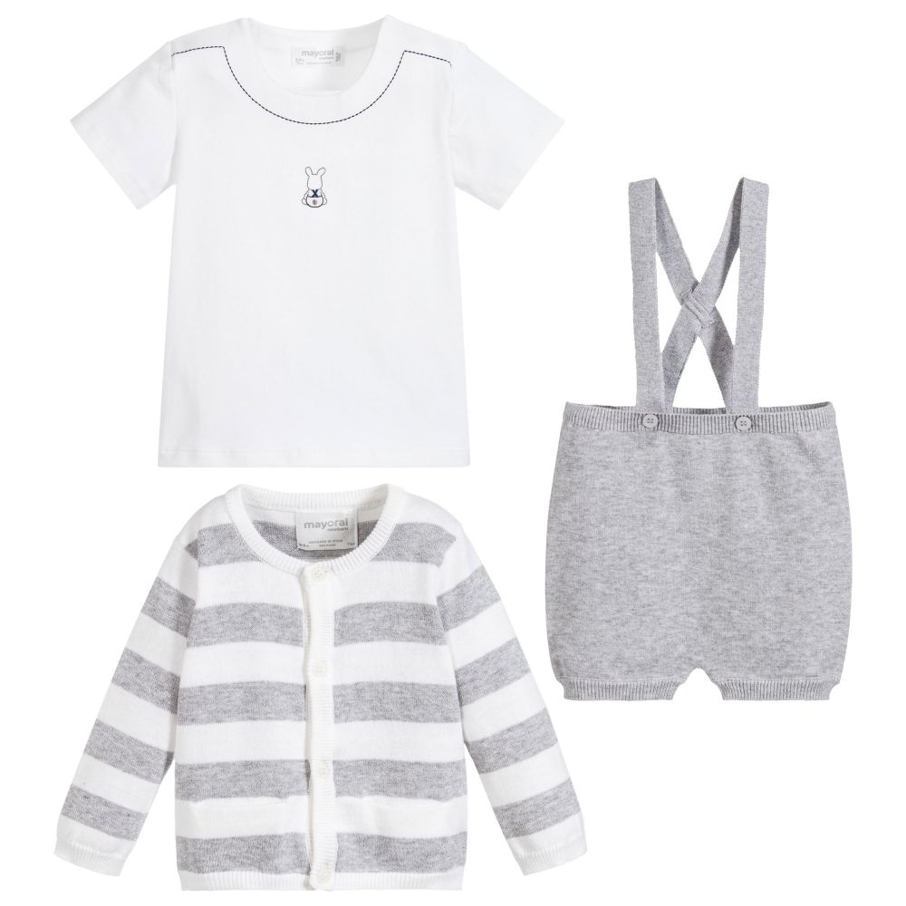 Grey Knit 3 Piece Shorts Outfit Set