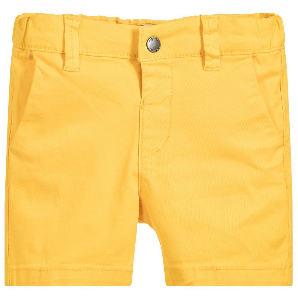 Sun Yellow Cotton Chino Shorts