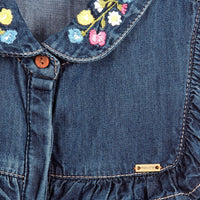 Denim Embroidered Ruffle Blouse