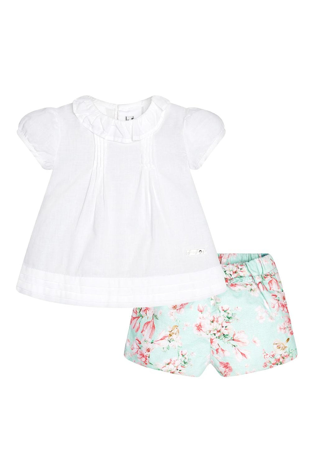 Blouse & Aquamarine Floral 2-Piece Short Set