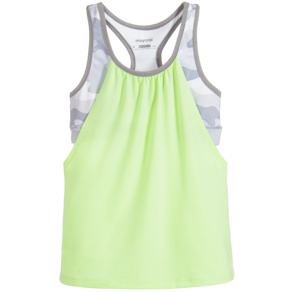 Lime Green & Camouflage Sports Top