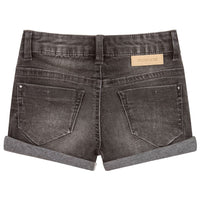 Faded Black Denim Shorts