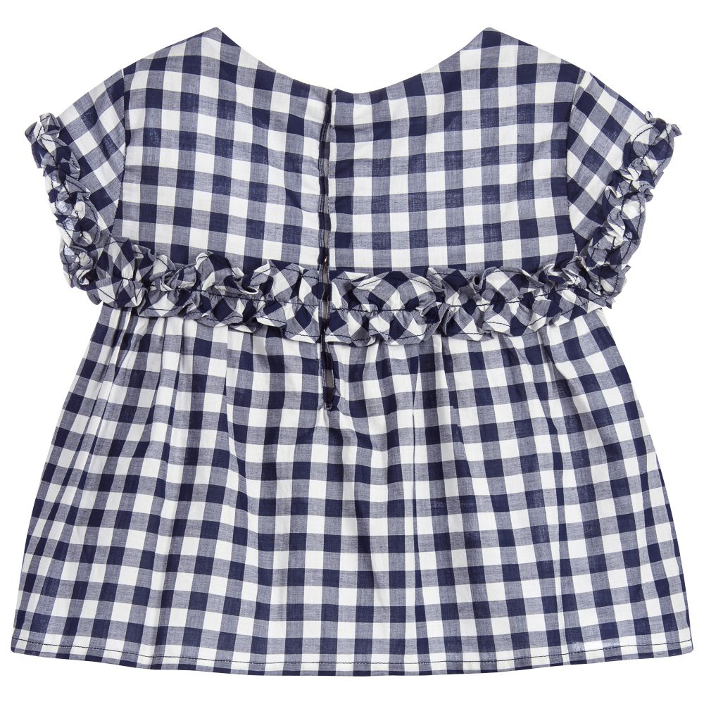 Navy Blue Check Blouse