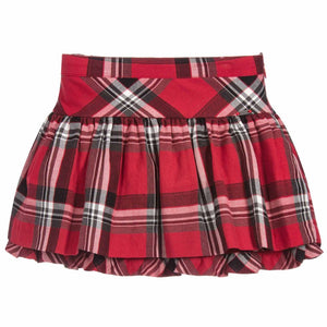 Red Tartan Flared Skirt