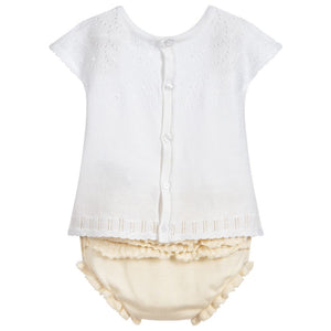 Ivory Knitted Baby Top & Bloomer Set