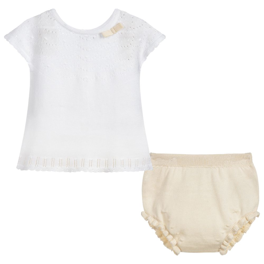 cf3c53a52c8 Ivory Knitted Baby Top   Bloomer Set