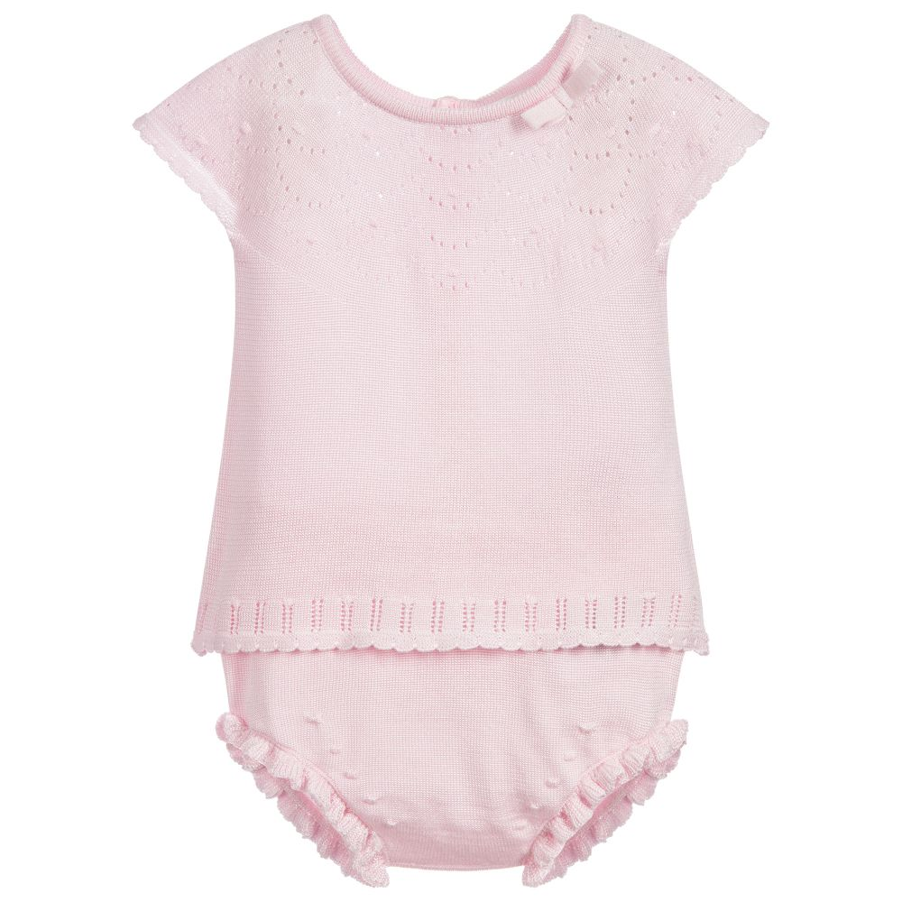Pink Knitted Baby Top & Bloomer Set