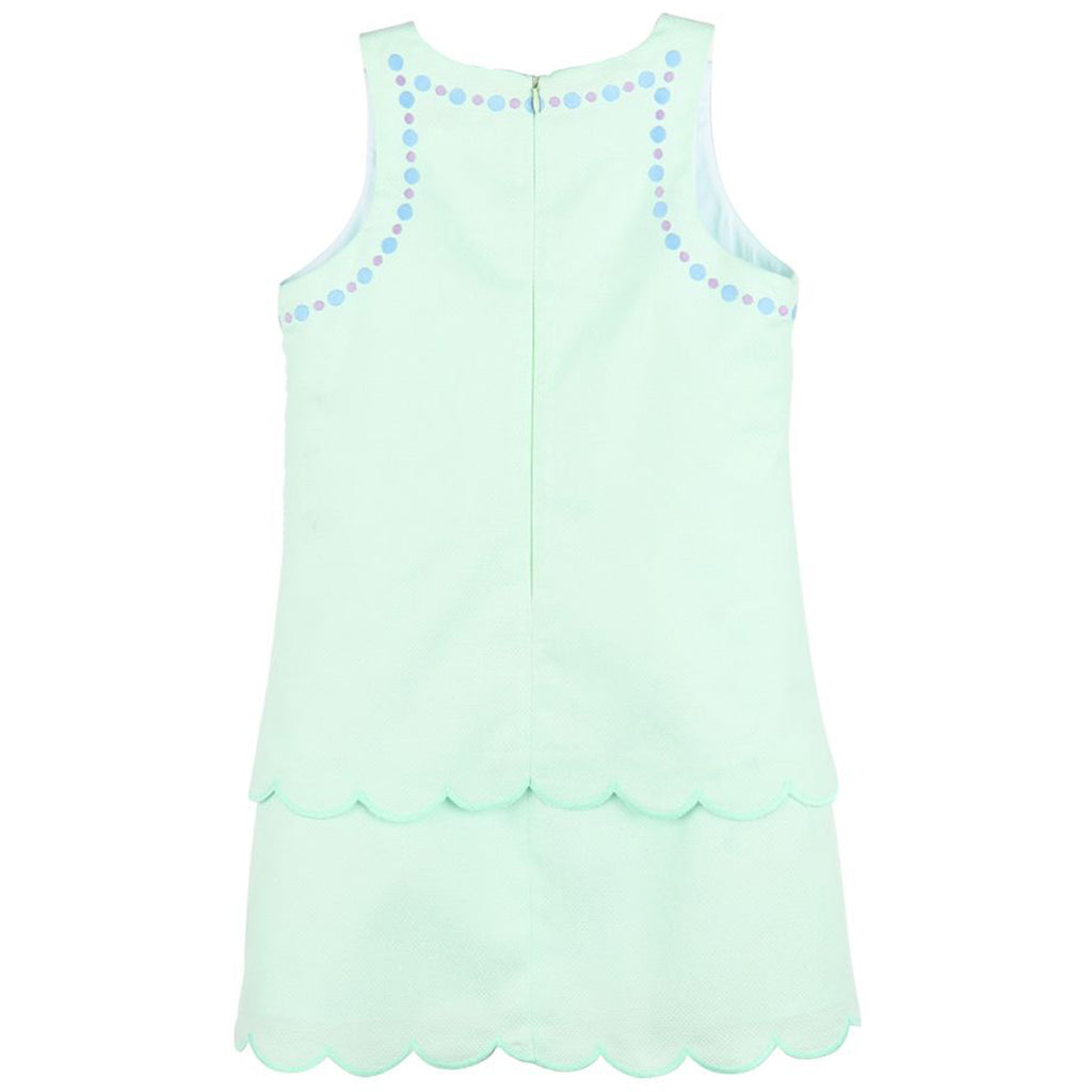 Mint Green Pique Tiered Scallop A-Line Dress
