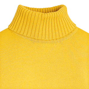Mustard Knitted Cotton Turtleneck Sweater