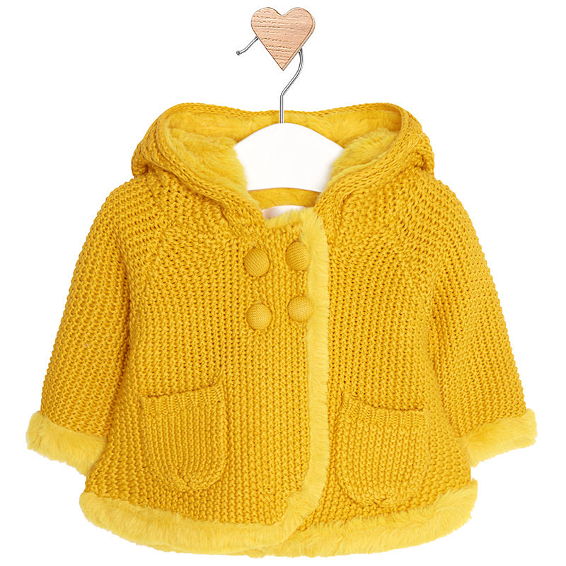 Mustard Knitted Pram Coat