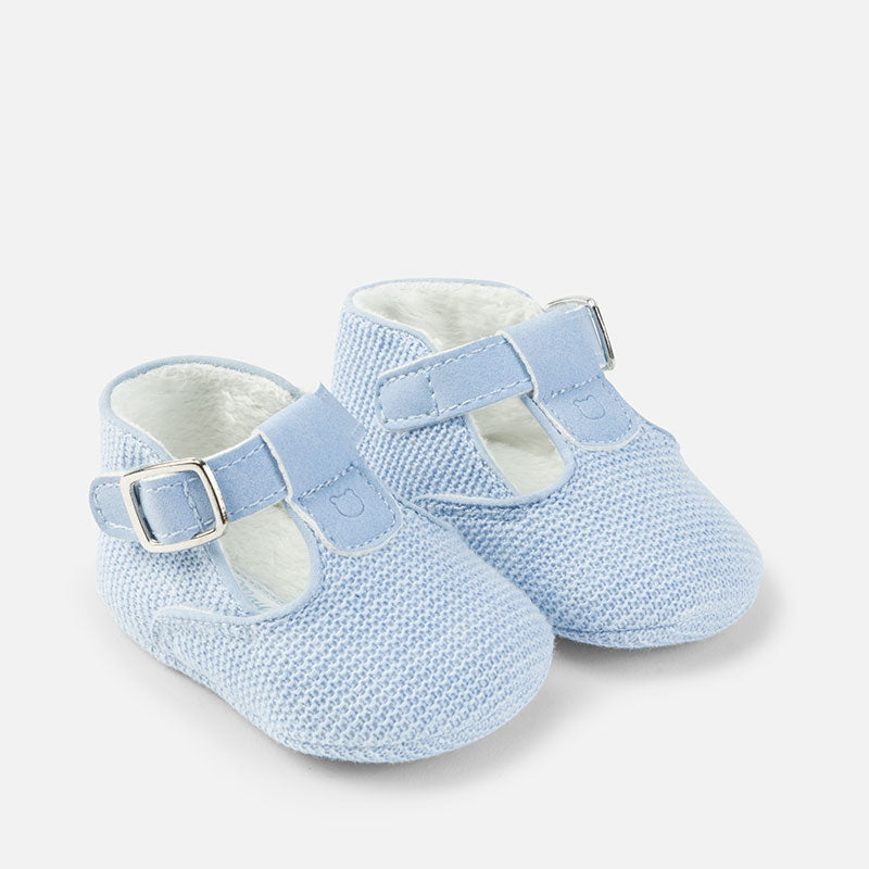 Baby Blue Knitted Pre-Walker Shoes