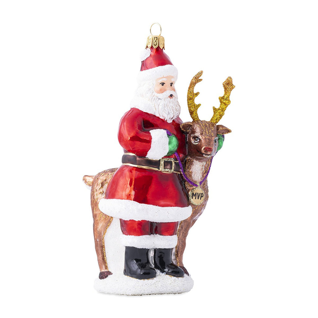 Country Estate Reindeer Games Santa & Rudolph Glass Ornament