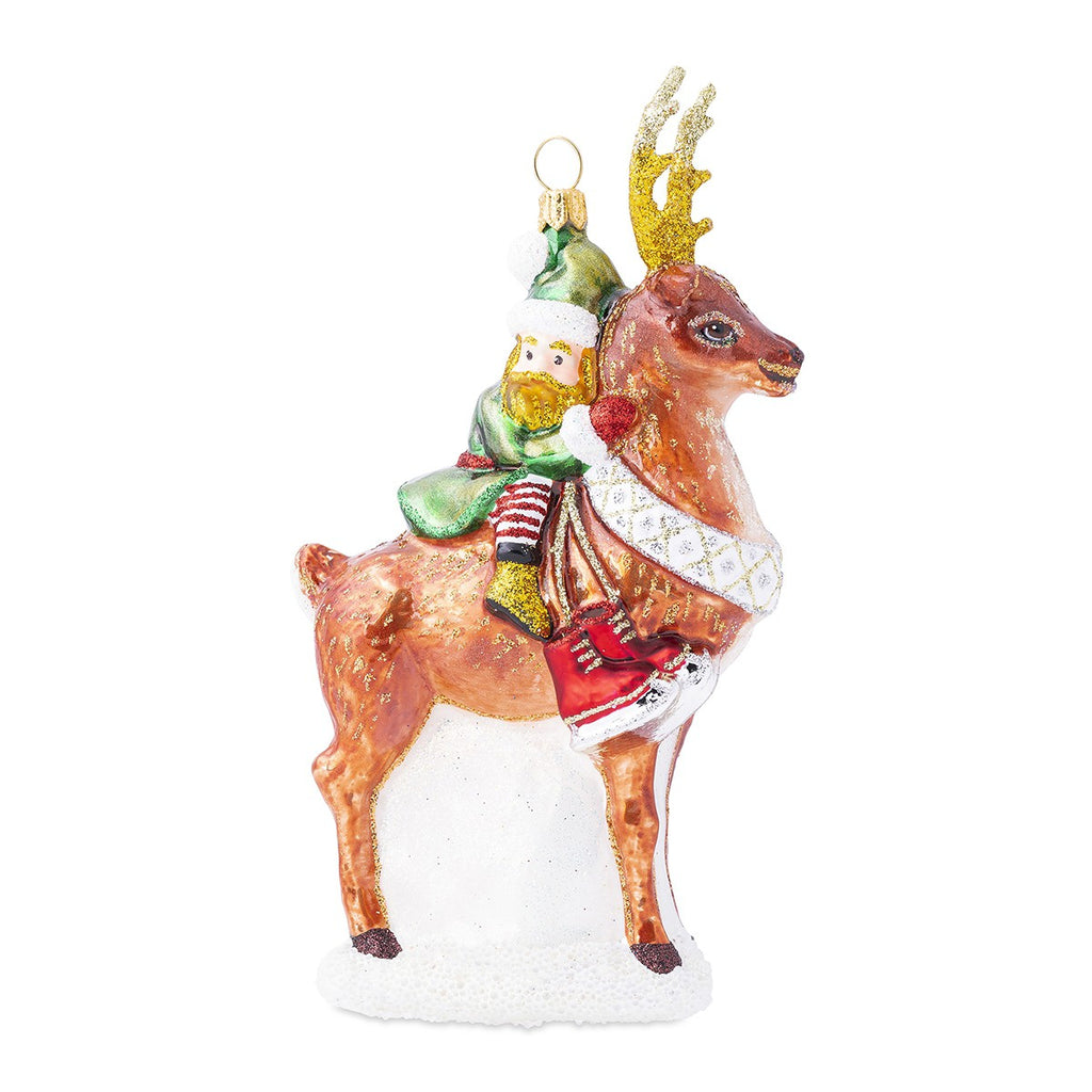 Country Estate Reindeer Games Dancer the Reindeer w/ Elf Glass Ornament