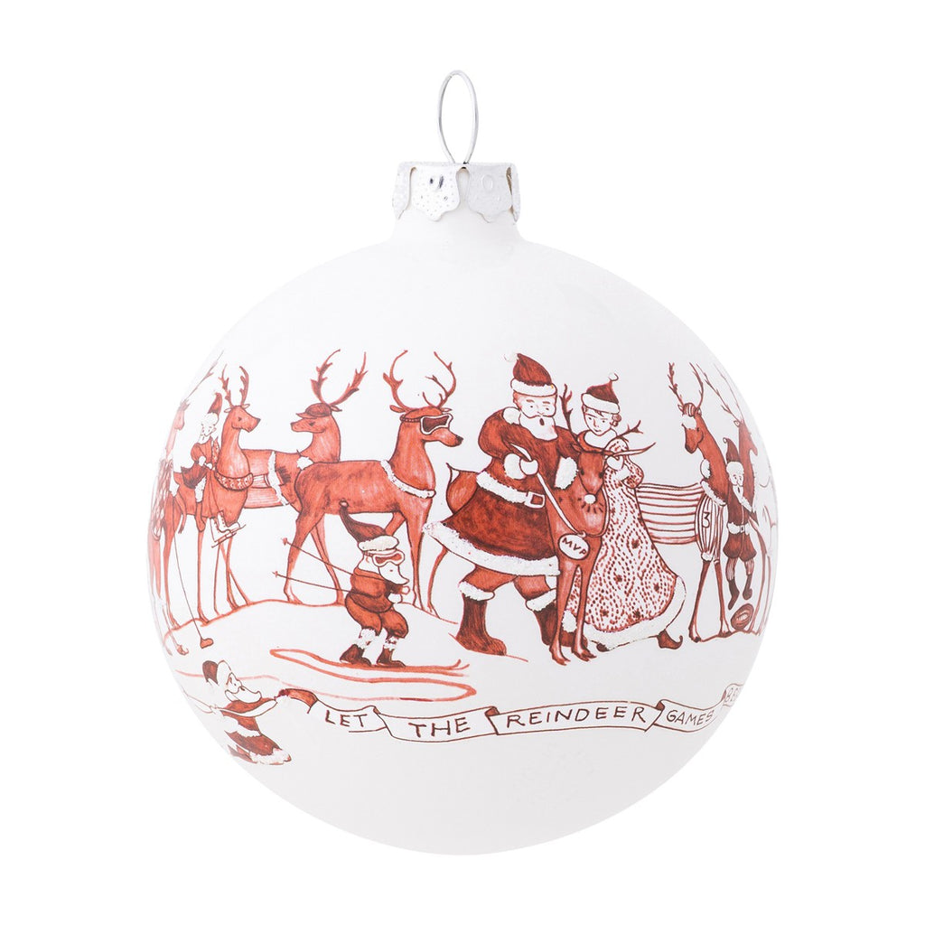 Country Estate Reindeer Games Ball Glass Ornament