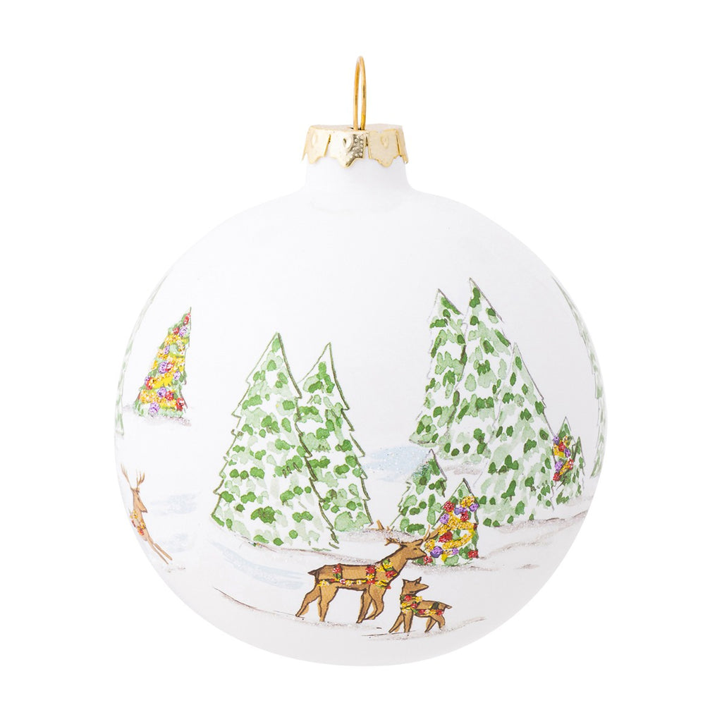 Berry & Thread North Pole Reindeer Glass Ornament