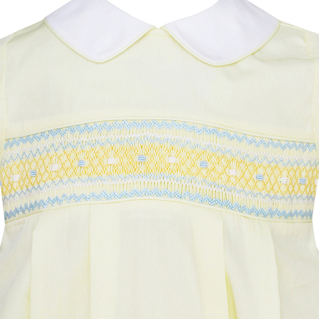 Smocked Lemon Yellow Poplin Bubble