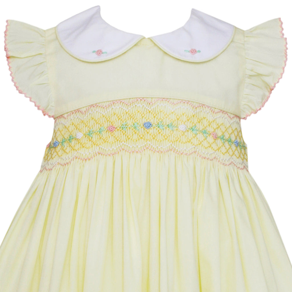 Smocked Lemon Yellow Poplin Dress w/ Peter Pan Collar