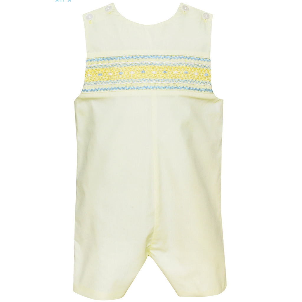 Smocked Lemon Yellow Poplin John John