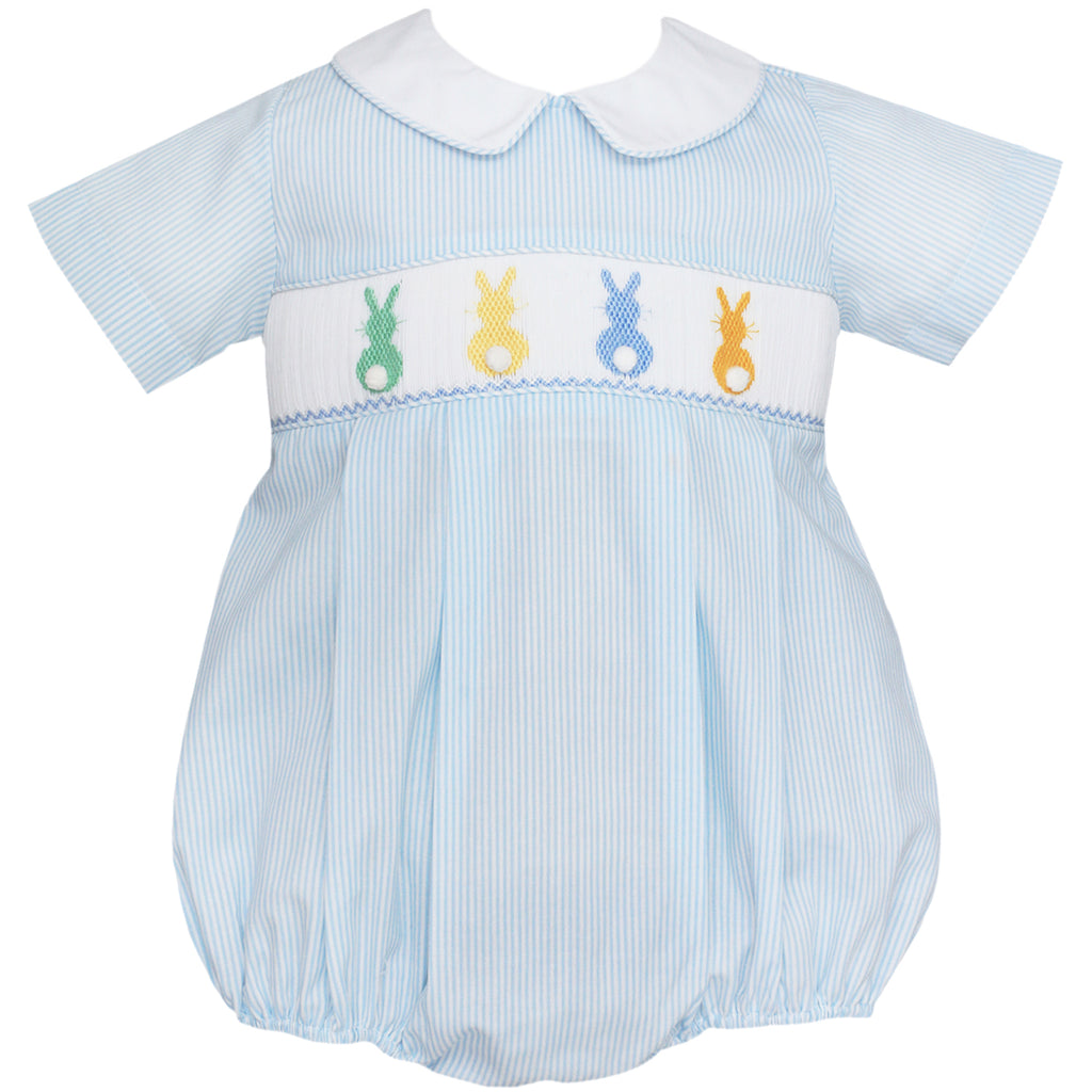 Light Blue Cottontails Smocked Bubble