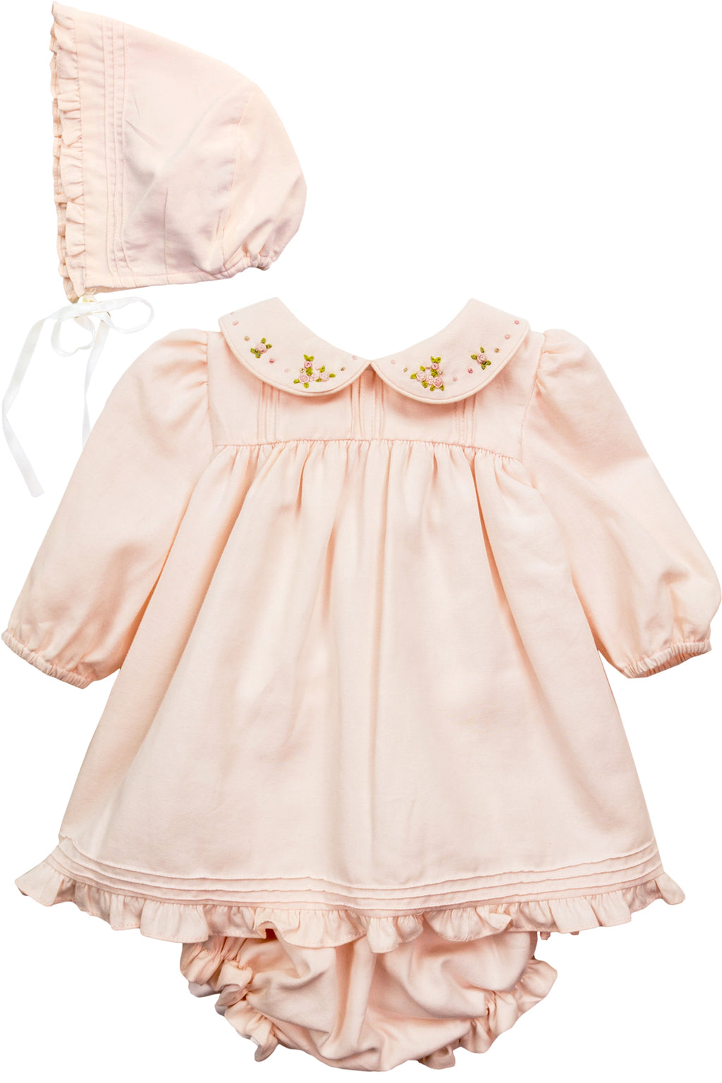 Winter Peach Dress w/ Bonnet & Bloomers