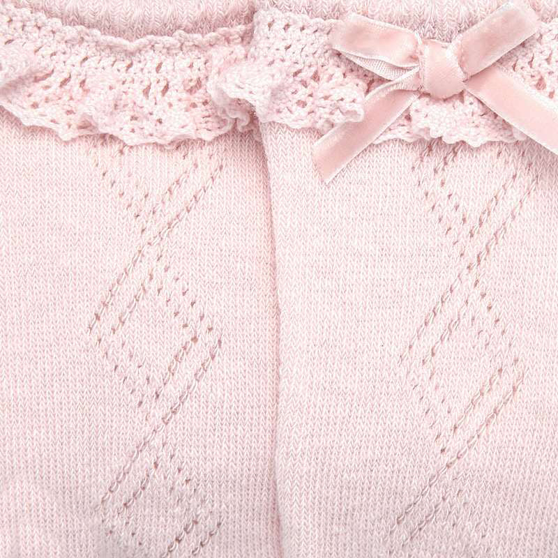 Pink Ruffle Knee-High Socks w/ Velvet Bow