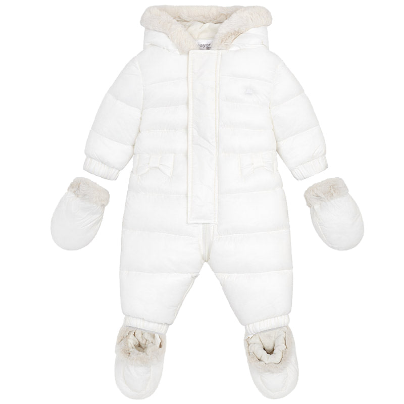 Ivory Puff Pramsuit with Fur Hood, Booties, and Mittens