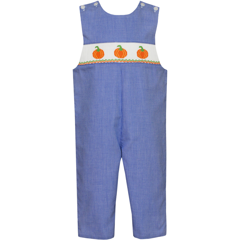 Blue Micro-Check Pumpkin Long John John