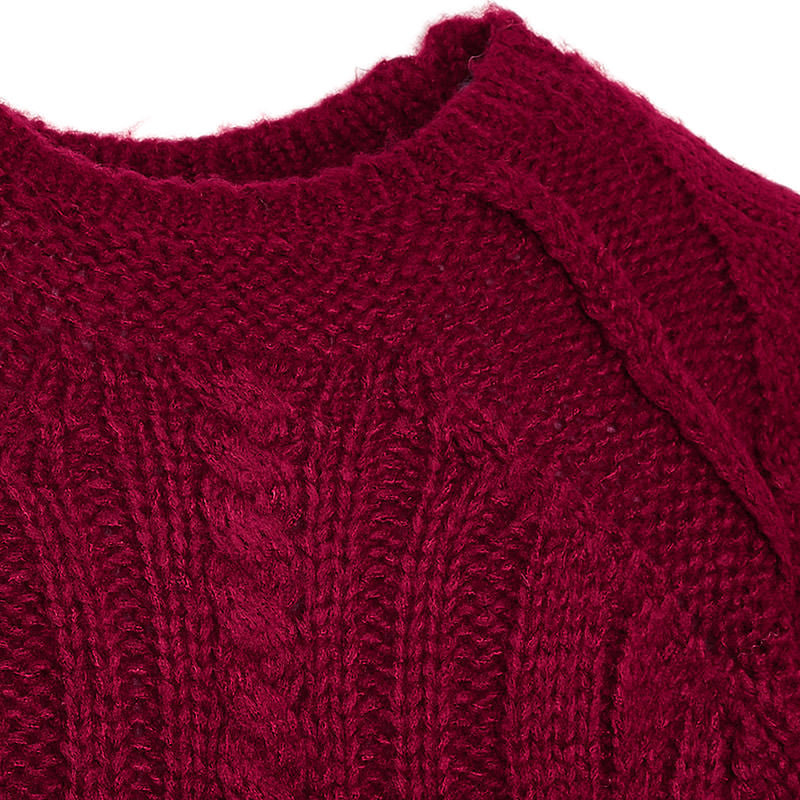 Raspberry Cable Knit Sweater