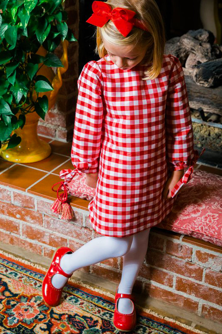Red Check Raw Silk Tunic Dress