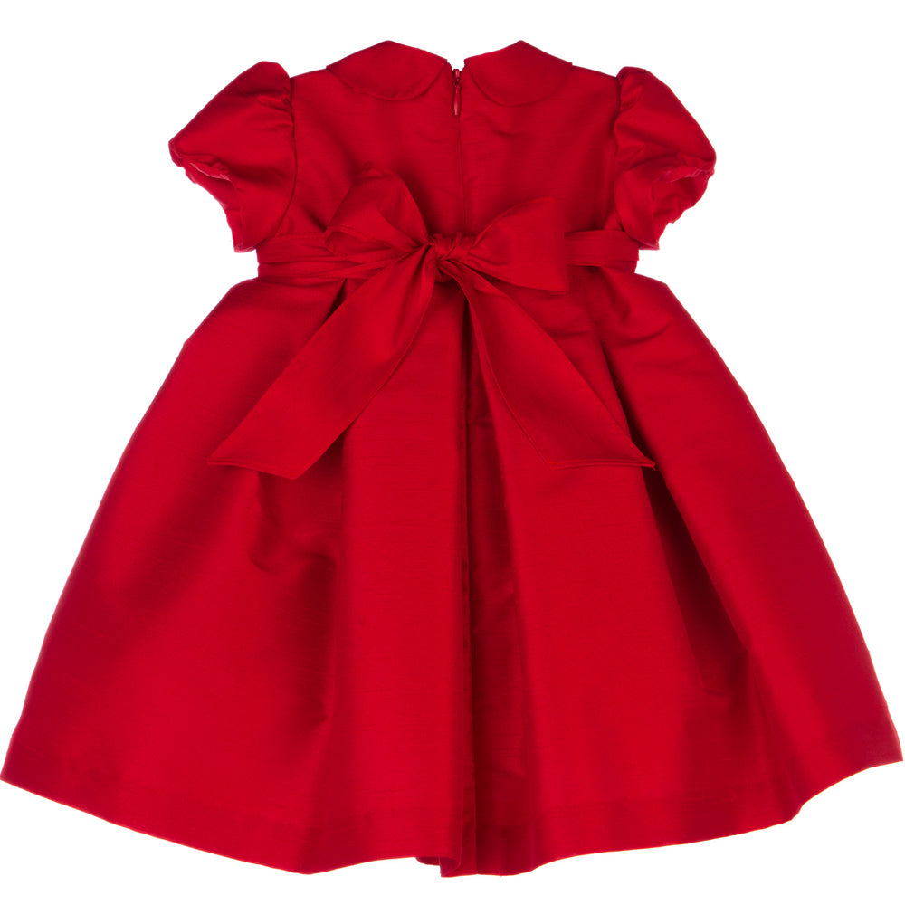 Red Party Dress with Flower Brooch