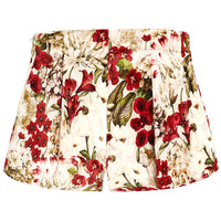 Red & Beige Floral Velvet Shorts