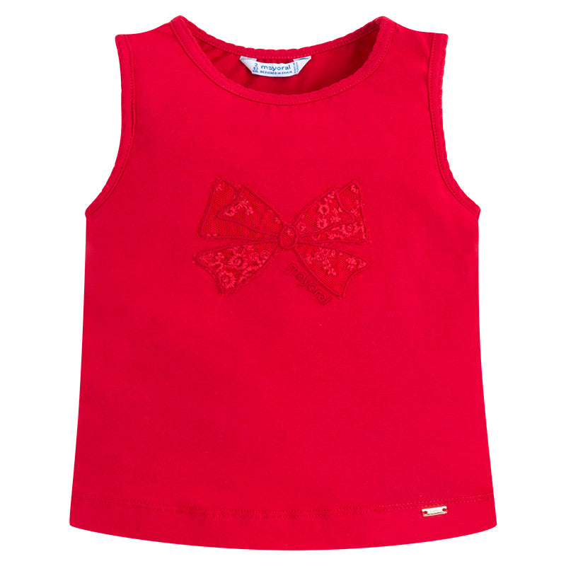 Red Bow Embroidered Tank Top
