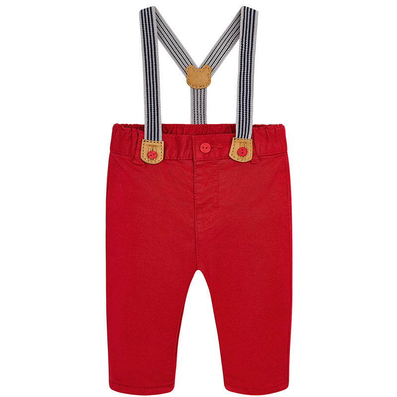 Long trousers with braces for baby boy